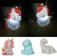 Wholesale Nightlight Toys - 3 design LED Night Light Children INS Unicorn monster dragon Nightlight cartoon bedside night light nurse LED toys KKA3646