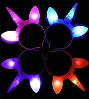 ingrosso fasce di concerto-LED Unicorn Shinning Headband Lampeggiante Head Hoop Vocal Concert Luminous Hairpin Halloween Cheer Up Birthday Party Favor 1 6wd hh