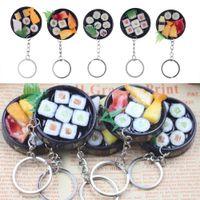 encantos sushi venda por atacado-Simulação Sushi Em Forma de Chaveiro Chaveiro Bolsa Bolsa de Telefone Do Carro Charme Decoração Chave FFA150 50 pcs Novidade Itens