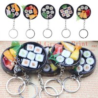 Wholesale car shaped novelties for sale - Group buy Simulation Sushi Shaped Key Chain Keyring Handbag Purse Car Phone Charm Decor Key Chain FFA150 Novelty Items