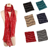 Wholesale shawl accessories online - 8 Colors cm Lady Musical Note Neck Soft Scarf Shawl Muffler Sunscreen Musical Note Printed Scarves Fashion Accessories CCA10207