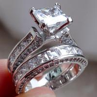 cadre en or blanc pour diamant achat en gros de-Taille de luxe 5/6/7/8/9/10 Bijoux 10kt or blanc rempli Topaz princesse coupe bague de mariage en diamant simulé ensemble cadeau avec boîte