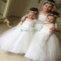 Wholesale country girl gifts resale online - White Princess Ball Gown Country Wedding Flower Girl Dresses Sheer Neck Lace Full Sleeve Kids Pageant Gowns Cheap Birthday Gift Rustic Beach