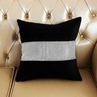 vintage retro pillowcases toptan satış-Lüks Rhinestone Yastık Lüks Veet Yastıklar Kapak Retro Vintage Şerit Beyaz Yastık Odası Ev Yastık Kılıfı