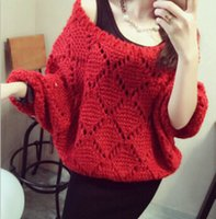 Wholesale Red Dolman Sweater - Spring New Womens Hollow Out Sweater Sexy Off Shoulder Bat Sleeve Tee Womans Long Sleeve Loose Tops