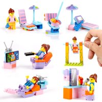 Wholesale vehicles puzzle - Plastic Building Blocks Children Assembling Toys Girl Small Assemble Puzzle Festival Gift Toy Bricks Minifig Free Shipping 1 45jr V