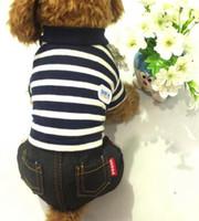 новая одежда hba оптовых-Новая одежда собаки любимчика, ярлык HBA, striped four legged платье, плюшевый мишка, малые одежды.