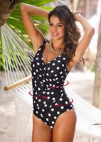 bikini-top gedrückt großhandel-heißer Verkauf der Art und Weise reizvoller PUSH UP HOHER HALSBIKINI pockdots Sommerstrandbadebekleidungs-Bikinilady-Spitzenqualität EIN STÜCK Badebekleidungs-Neuankömmlinge