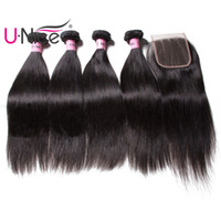 Wholesale UNice Icenu Remy Hair Series Peruvian Straight Hair Bundles With Lace Closure Brazilian Human Hair Extensions Bundles With Closure Bulk
