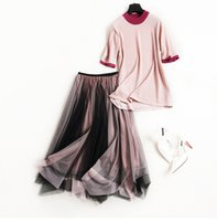 Wholesale Black Knit Skirt Suit - European women's wear 2018 The new spring With short sleeves Knitted T-shirt + Pleated gauze skirt. suit