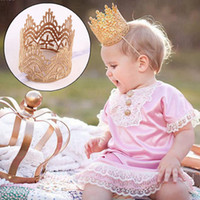 Wholesale mini crown headband - Elegant Infant Headwear Newborn Mini Felt Glitter Gold Crown Headbands For Baby Girl Hair Accessories Crown Hairband Hairwear