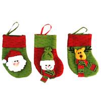 Wholesale cloth bags candles - New Year Mini Christmas Stockings Socks Santa Claus Candy Gift Bag Xmas Tree Decor Festival Party Ornament Color Sent Randomly