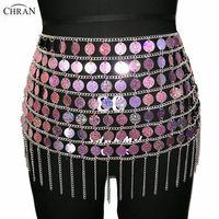 ювелирные изделия ожерелье талии тела оптовых-Chran Laser Sequin  Belly Waist Chain Sexy Mini Skirt Women Choker Necklace Bikini Wear Party Dress Festival Body Jewelry