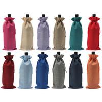 Wholesale linen jute drawstring resale online - Jute Wine Bottle Covers Champagne Wine Blind Packaging Gift Bags Christmas Wedding Dinner Table Decorate Wine Bags Drawstring Cover x36cm
