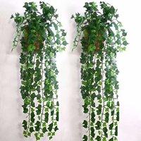 sahte yeşillik toptan satış-Yapay Ivy Yaprak Garland Bitkiler Vine Fake Yeşillik Çiçekler Ev dekor Yaklaşık 2.5 m