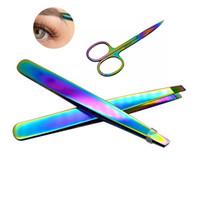 çelik saç klipleri toptan satış-Moda Gökkuşağı Renk Paslanmaz Çelik Kaş Cımbız Kaş Mini Makas Klip Anti-statik Yüz Saç Çıkarıcı Aracı