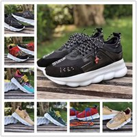 Wholesale rounded sole shoes online - Newest Luxury Brand Designer Chain Reaction Sneakers Trainer Casual Shoes Lightweight Chain linked Rubber Sole Men Mens Women