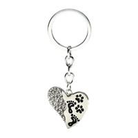joyas conmemorativas regalos al por mayor-Forma 12 pc / lot del corazón Impresión del perro joyería Llavero del encanto del metal cristalino claro de regalo para dueño de la mascota Llavero del Memorial