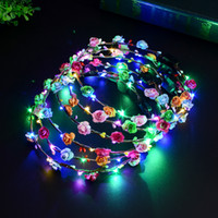LED Hairband Flower hair styles for flower girls - Bohemia style LED Light Wreathes Headwear flower Glowing headband Wreath Hair Accessories for women girls Party Hairband Flower