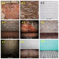 mur de briques achat en gros de-Vintage Brique Mur Photographie Fond Vinyle Photo Décors Studio Props Plancher En Bois papier peint décor à la maison 85 * 125 cm
