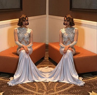 Wholesale silk shirts girls - Sexy Mermaid Prom Dresses For Black Girl 2018 Beading Elegant Long Sleeve Party Formal Evening Dresses