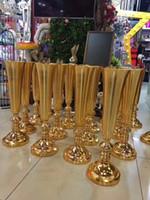 Wholesale Large Flower Vases Wholesale - 2018 elegant tall gold color Polish vases wedding flower vase centerpieces large mouth shape vase metal for home & wedding decoration