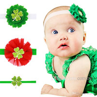 Wholesale rhinestone leaf clover - Baby Headbands Flower 3pcs Set Girls Elastic Four-Leaf Clover Shabby Fabric Hairbands Kids Rhinestone Boutique Hair Accessories KHA570