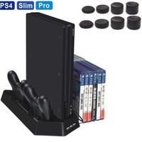 controlador ps4 más frío al por mayor-Soporte vertical 2 ventiladores de refrigeración Cargador de controlador Estación de carga con 14 discos de CD de juegos Almacenamiento para PS4 / PS4 Slim / PS4 Pro