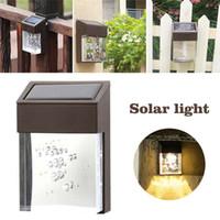 ingrosso luci solari acriliche-LED Solar Light Outdoor impermeabile applique da parete LED acrilico portico lampada da giardino cortile Decor Fence Light