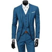 tres un pantalón al por mayor-Chaqueta de traje + Chaleco + Pantalones / Conjuntos de tres piezas / 2018 nuevos hombres con un solo botón abrigos de chaqueta de boda / Chaleco y pantalones de hombre S18101902