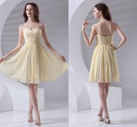 Wholesale junior bridesmaid dresses for beach - Country Style Summer Short Chiffon Junior Bridesmaid Dresses Yellow Sweetheart Pleats Maid Of Honor Gowns For Beach Garden Weddings ZPT408