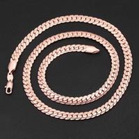 collar de cadena de oro 18kgp al por mayor-6 mm * 18-32 pulgadas de lujo para mujer para mujer 18KGP collar de cadena chapado en oro rosa para hombres mujeres cadenas collares accesorios hip hop