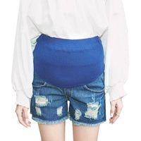 maternidade roupas jeans venda por atacado-Shorts De Maternidade Jeans Calças De Brim Para Mulheres Grávidas Roupas Gravidez Shorts Calças Vetement Grossesse Calças Gravidas Vestuário Novo