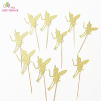 Wholesale Fairy Cup Cakes - HEY FUNNY 20pcs Glitter Gold Fairy Wizard Cup Cake Topper Souvenirs Birthday Party Decoration DIY Wrapper Baby Shower