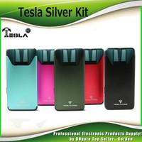Wholesale pink sliver - Original Teslacigs Sliver Starter Kits 350mah Battery 2ml Cartridge Portable Vape Tesla Pod System kit 100% Authentic