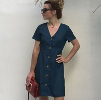 Wholesale vacation dresses - Hot Sale Mini Sundress Women Summer Short Sleeve V Neck Dresses Button Decorated High Waist Mini Dresses Vacation Beachwear