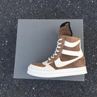 botas de gama alta al por mayor-Exclusivo de gama alta calidad personalizada y limitada superior de gamuza marrón de cuero genuino cesta RUNNER Hi-Street zapatos de alta arranque superior