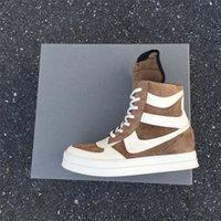 yüksek sokak ayakkabıları toptan satış-Özel yüksek Bitiş Sınırlı Özelleştirilmiş En kaliteli kahverengi süet hakiki deri sepet RUNNER Hi-Sokak AYAKKABI yüksek üst Önyükleme