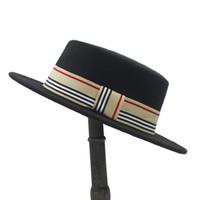 bonnets plats en laine pour homme achat en gros de-Femmes Hommes Laine Plat Homburg Fedora Chapeau Lady Gentleman Hiver Autum Jazz Boater Panama Top Caps Bonne Taille Du Paquet 56-58CM