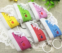 Wholesale i keychains for sale - Group buy DHLFree colors D Novelty Canvas Sneaker Tennis Shoe Keychain Key Chain Party I love you key chains