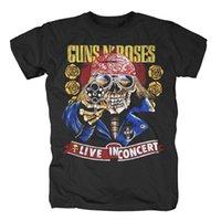 kıyafet tabancası toptan satış-GUNS N´ROSES-Kafatası Gun Turu 1991 T-Shirt Kollu T Gömlek Yaz Erkekler Tee Üstleri Giyim Baskı T Shirt Erkek Marka Giyim