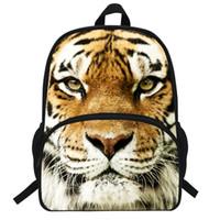 белые головы животных оптовых-16-Inch Animal Bag For Boys Girls School Bag White Tiger Head Backpack For Children Printing Tiger Backpack Kids