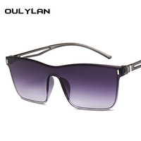 óculos grandes coloridos venda por atacado-Oulylan óculos de sol de grandes dimensões mulheres colorido gradiente óculos de sol grandes armações de design