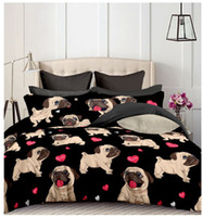 siyah köpek örtüsü toptan satış-Siyah Pug Baskılı Nevresim Takımları Kalp Köpek Nevresim Takımı 2/3 adet Nevresim Takımı Çift Kraliçe Nevresim Nevresim (No Sheet No Dolum)