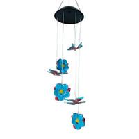 carillons éoliens papillon achat en gros de-LED solaire fleur papillon carillon de vent lumière multicolore suspendu décoration étanche Veilleuse couleur changeant lampe solaire H510