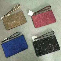 köpüklü çanta toptan satış-4 renkler marka tasarımcı debriyaj çanta Noel yıldız cüzdan bileklik parlayan kadınlar için glitter glitter ışıltı sikke çantalar