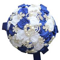 bouquets personnalisés achat en gros de-Jane Vini Bouquets de mariage en cristal bleu royal 2018 Brillant en forme de coeur strass perles artificielles mariées bouquet fleurs de mariage personnalisé