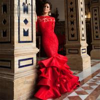 ingrosso bellissime abiti da sera della sirena-2018 bella pizzo rosso maniche lunghe sirena abiti da sera sexy backless increspature abiti da sera abiti da pavimento personalizzati abiti da sera
