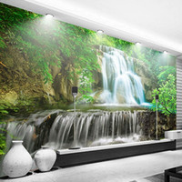papel de pared con textura al por mayor-Custom Wall Mural Photo Wall Paper 3D Green Forest Waterfall Natural paisaje pintura no tejida paja Textured Wallpaper Mural