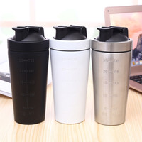 Wholesale Stainless Steel Protein Shakers - CHEAPEST!!! solid color Stainless Steel Metal Protein Shaker Cup Blender Mixer Bottle 25oz with leak proof lid